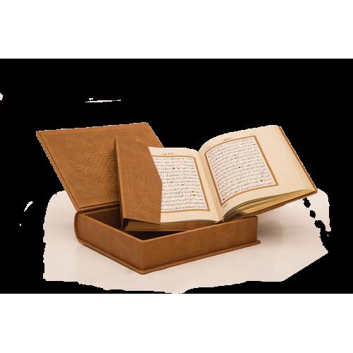 Lüks Kutulu Suni Deri Kuran-ı Kerim Rahle Boy Hamit Aytaç Hattı (Kod 1268)
